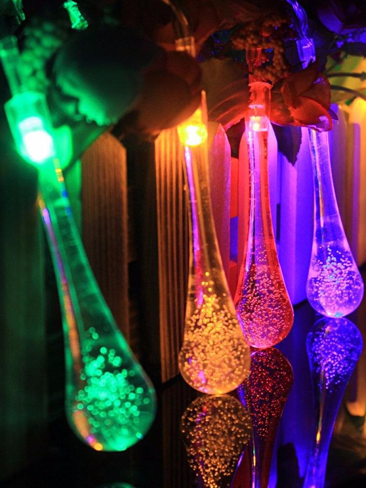 30 LED Battery Powered Raindrop Fairy String Light Outdoor Xmas Wedding Garden Party Decor