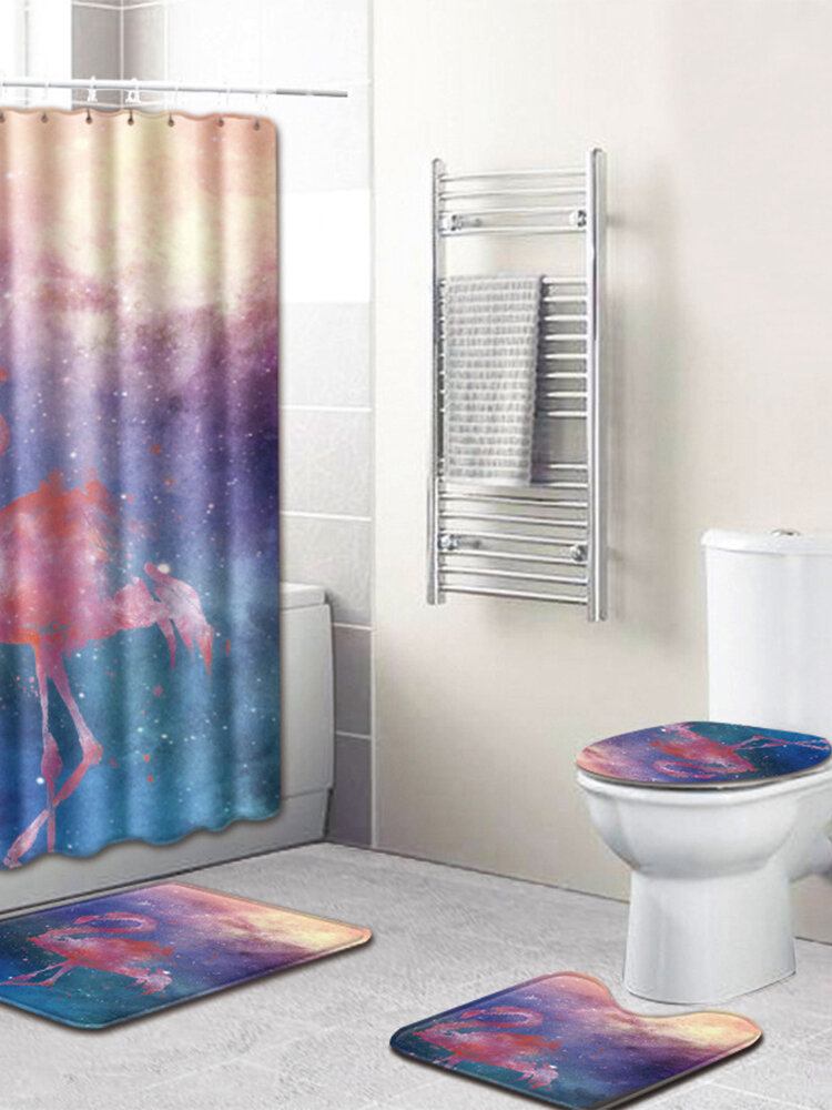 Starry Sky Printed Bathroom Polyester Shower Curtain Non Slip Toilet Cover Rugs Mat Set
