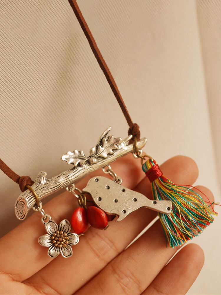 Vintage Ethnic Bird Flower Tassel Red Sweater Chain Long Necklace