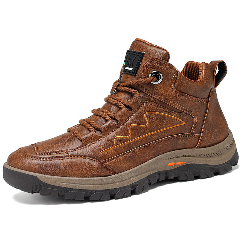 Men Outdoor High Top Climbing Slip Resistant Lace-up Hiking Boots