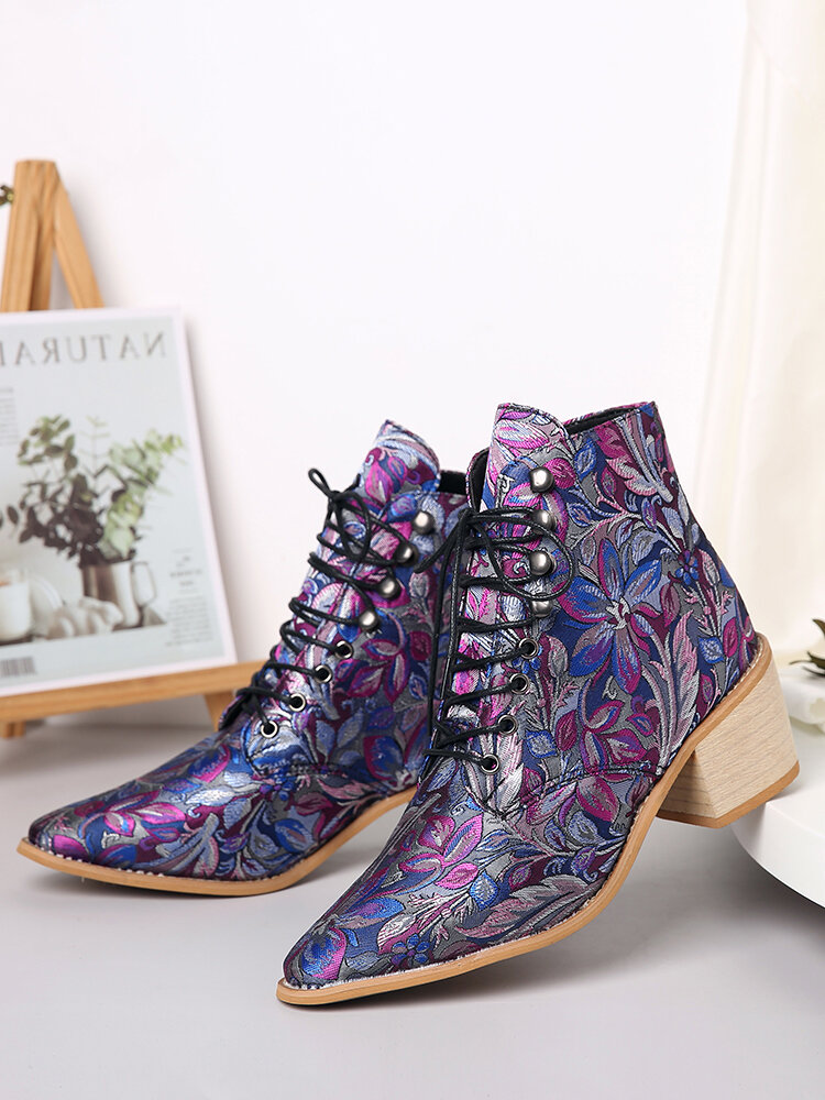 Women Large Size Embroidered Flowers Lace Up Pointed Toe Comfy Block Heel Short Boots