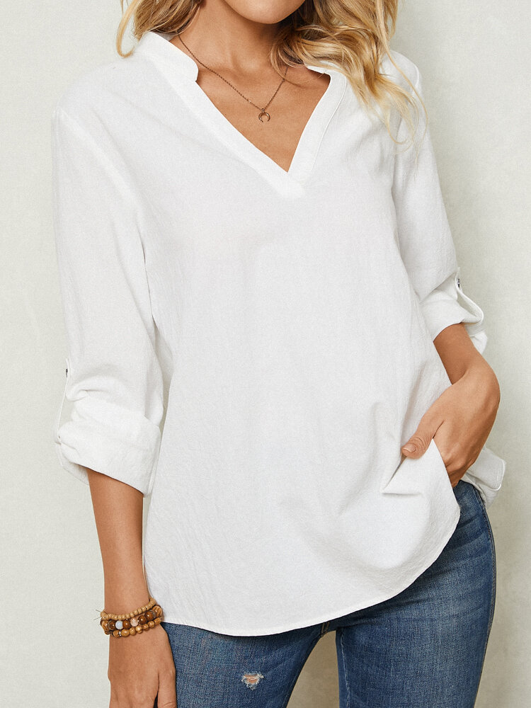 Women Long Sleeve Loose Stand Collar Solid Button Blouse