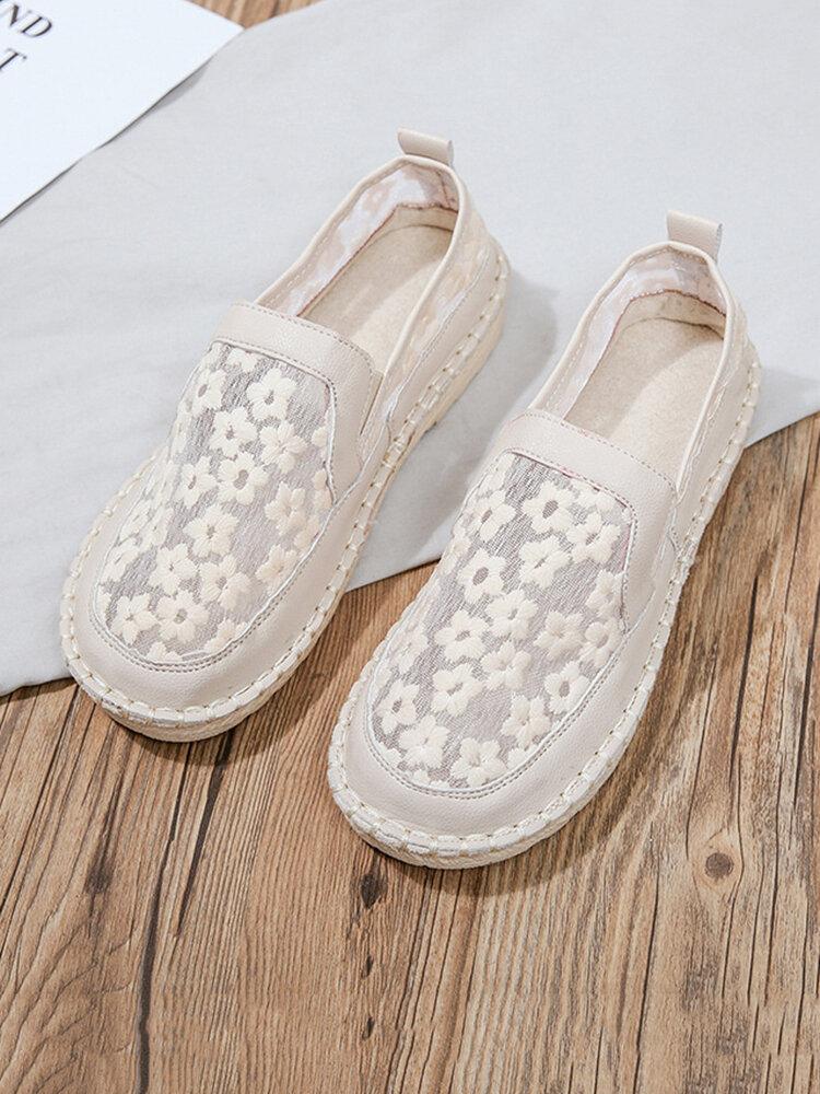 Женские элегантные кружевные лоферы с цветочным принтом без шнуровки, дышащие лоферы на плоской подошве с круглым носком