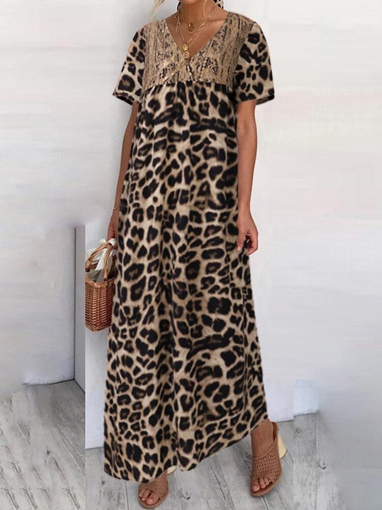 Leopard Print Lace Patchwork V-neck Plus Size Dress