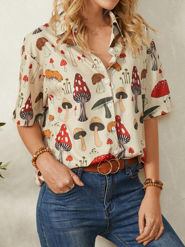 Revers-Halbarm-Bluse mit Pilzdruck für Damen