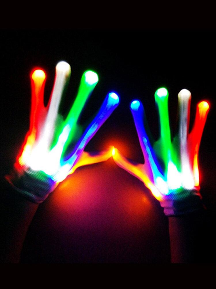 Gants LED Costume Amazing Light Gants d'Halloween Light Up Rave Gloves Skeleton