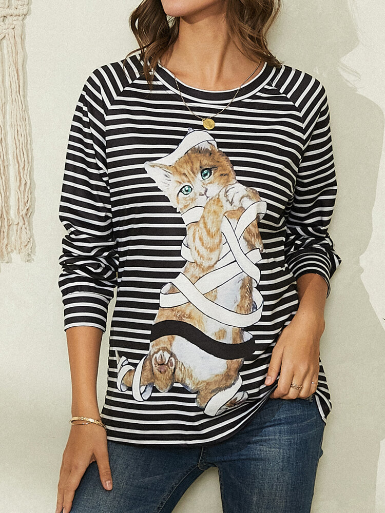 Cat Striped Print O-neck Long Sleeve Casual T-shirt For Women