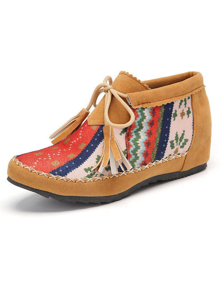 Plus Size Women Folkways Colorblock Striped Comfy Suede Non Slip Tassel Lace-up Ankle Boots