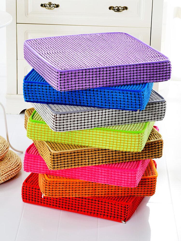 Cuscino del sedile in spugna di velluto a coste a grana di mais in tinta unita di spessore 40/45/50 * 8 cm Cuscino da pranzo a forma quadrata
