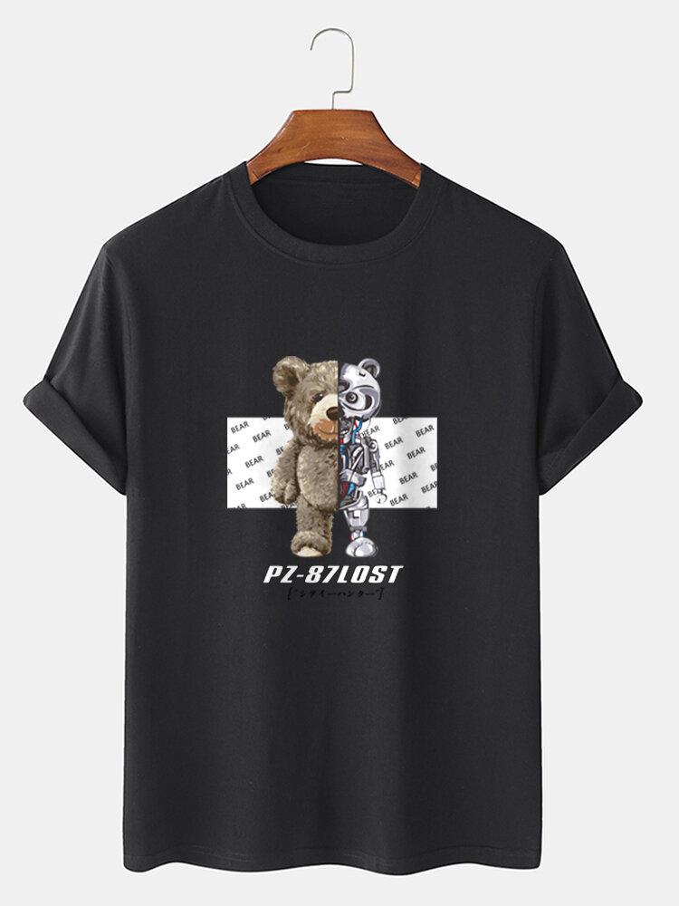 Mens Mechanical Toy Bear Print Preppy 100% Cotton Short Sleeve T-Shirts