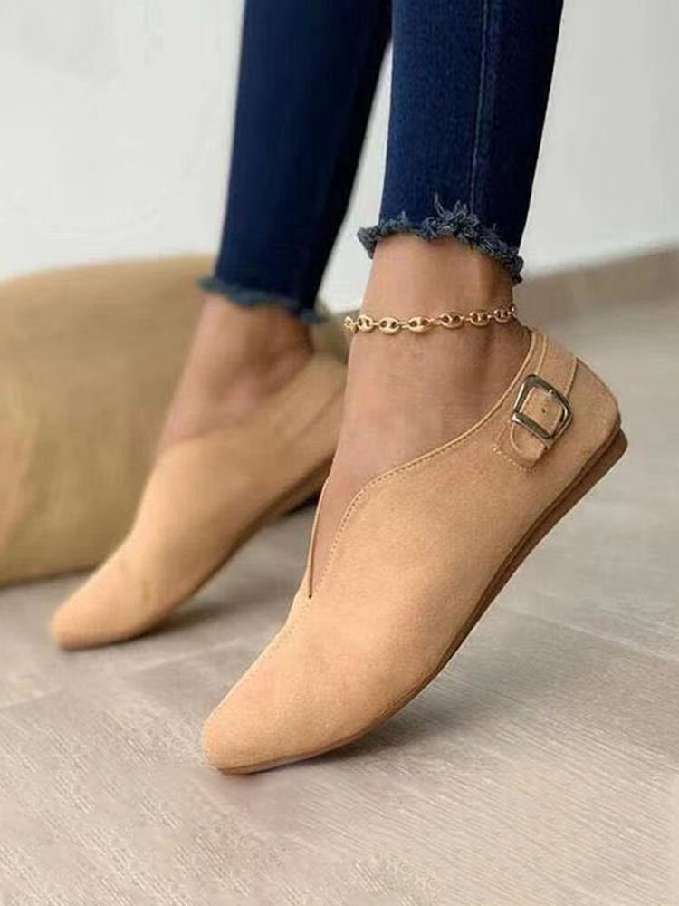 Women Retro Pointed Toe Synthetic Suede Front V-Cut Comfy Slip On Casual Flat Shoes