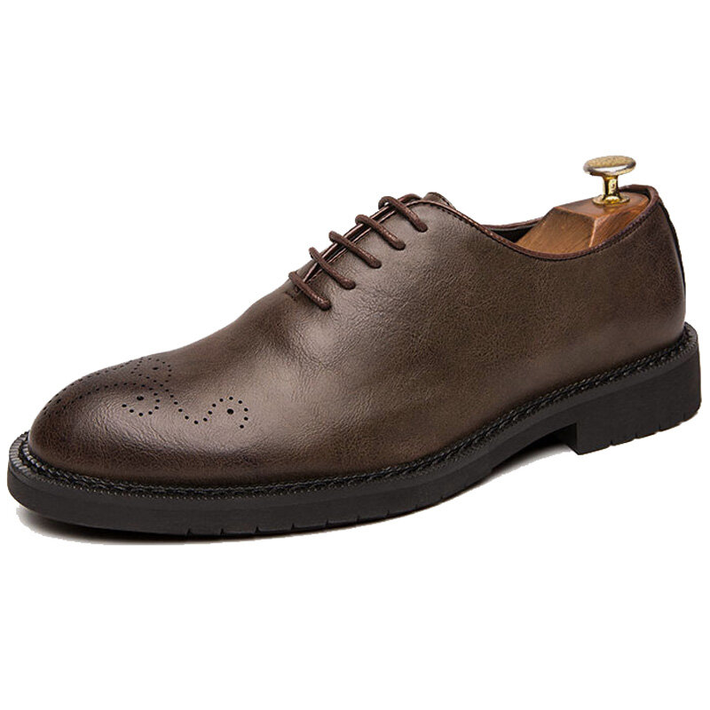 Men Retro Leather Brogue Non Slip Business Casual Formal Shoes