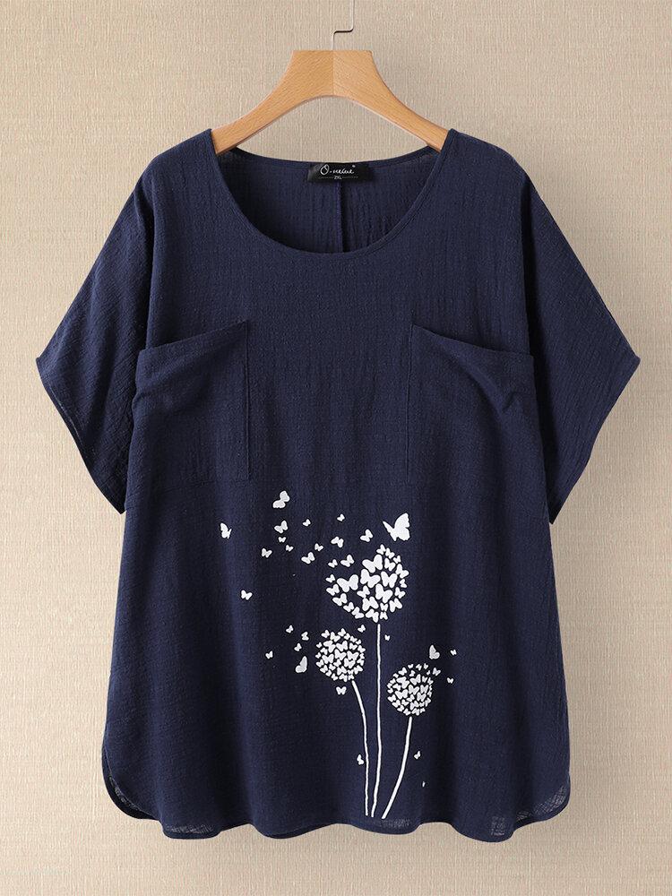 Camiseta casual estampada com decote O Plus com bolsos