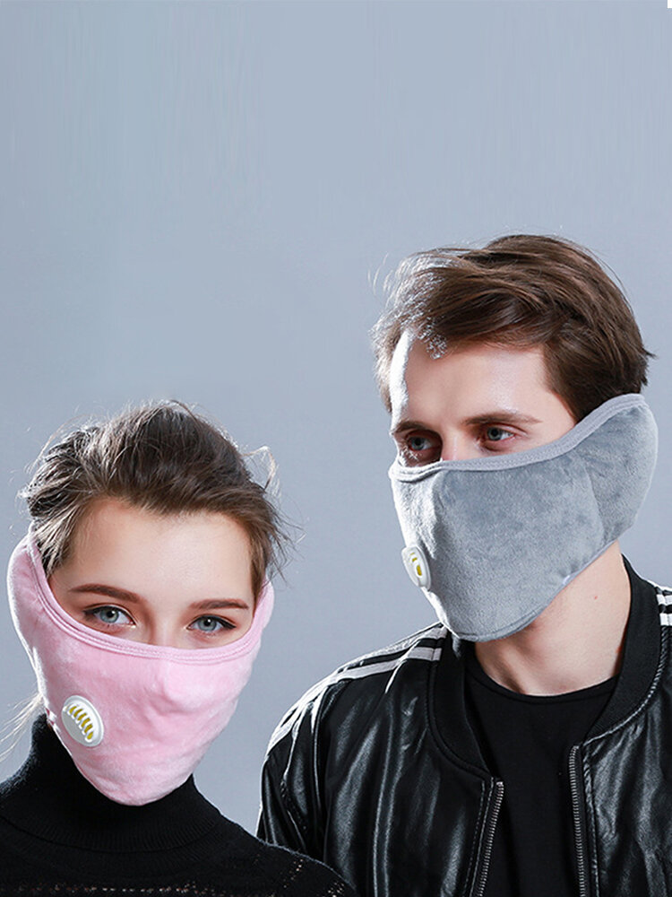 Unisex 2 In 1 Warm Face Mask Earmuffs Ear Protection Windproof Anti-smog For Cycling In Winter