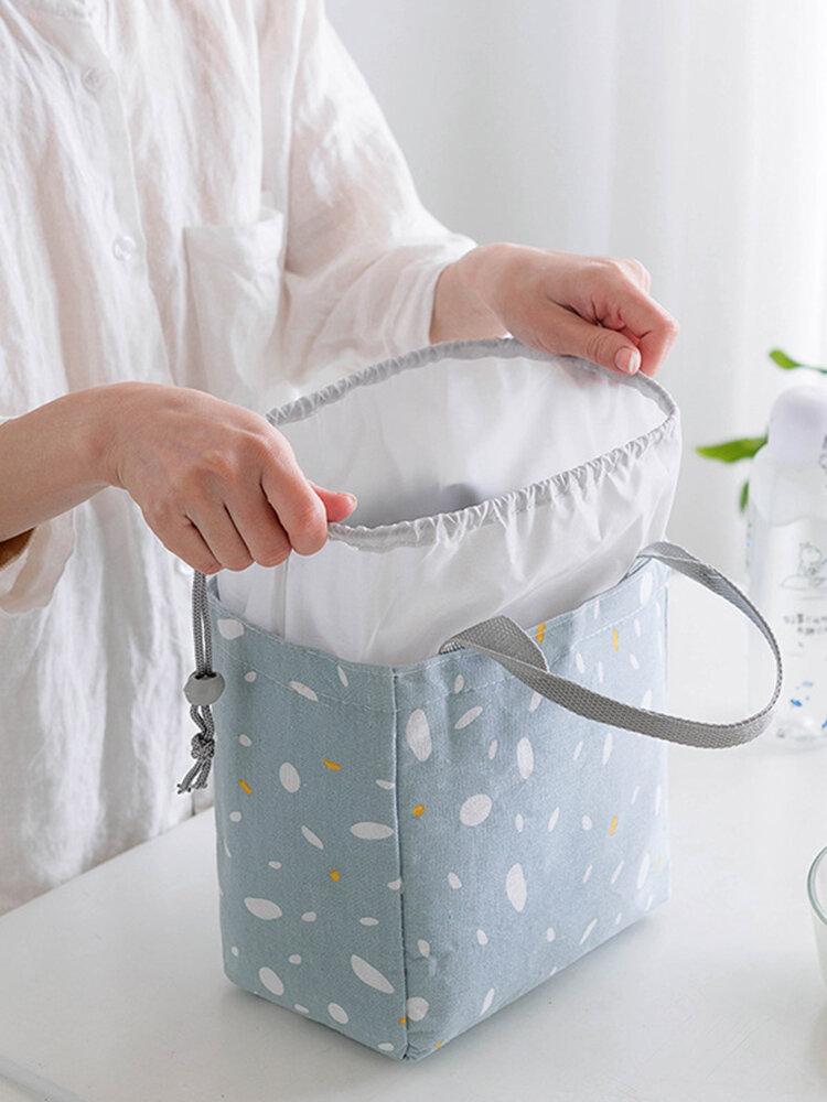 المحمولة غزل القطن الحفاظ على اليد غداء حقيبة الغداء مربع حقيبة قماش حقيبة شعاع الفم