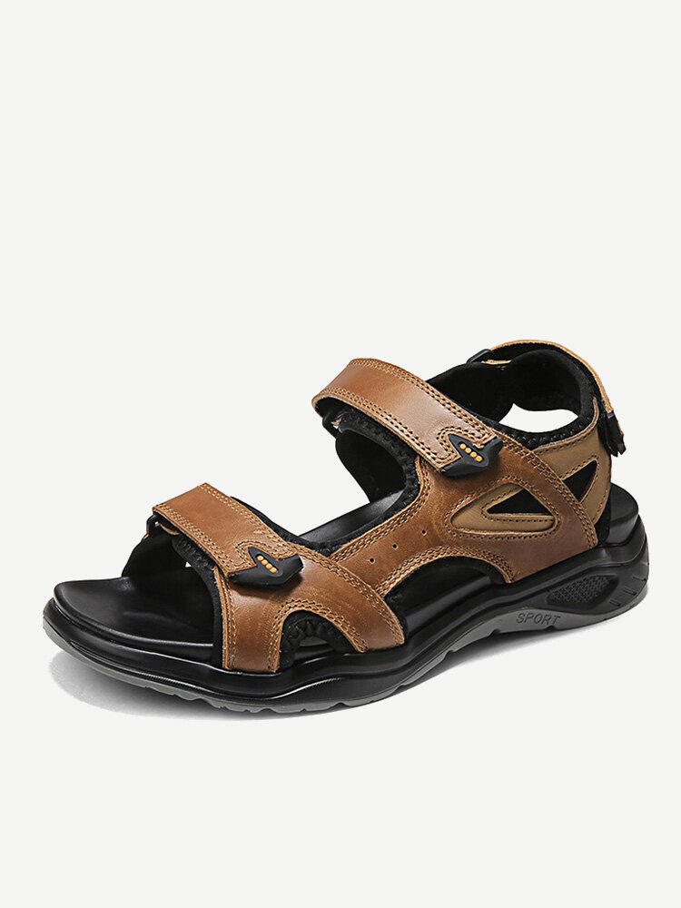 Men Cow Leather Waterproof Non Slip Hiking Leather Sandals