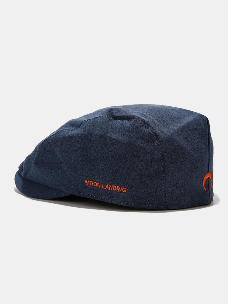 पुरुषों और महिलाओं के कपास विरोधी पहनने शैली पत्र कढ़ाई व्यक्तित्व फ्लैट टोपी बेरेट टोपी आगे टोपी