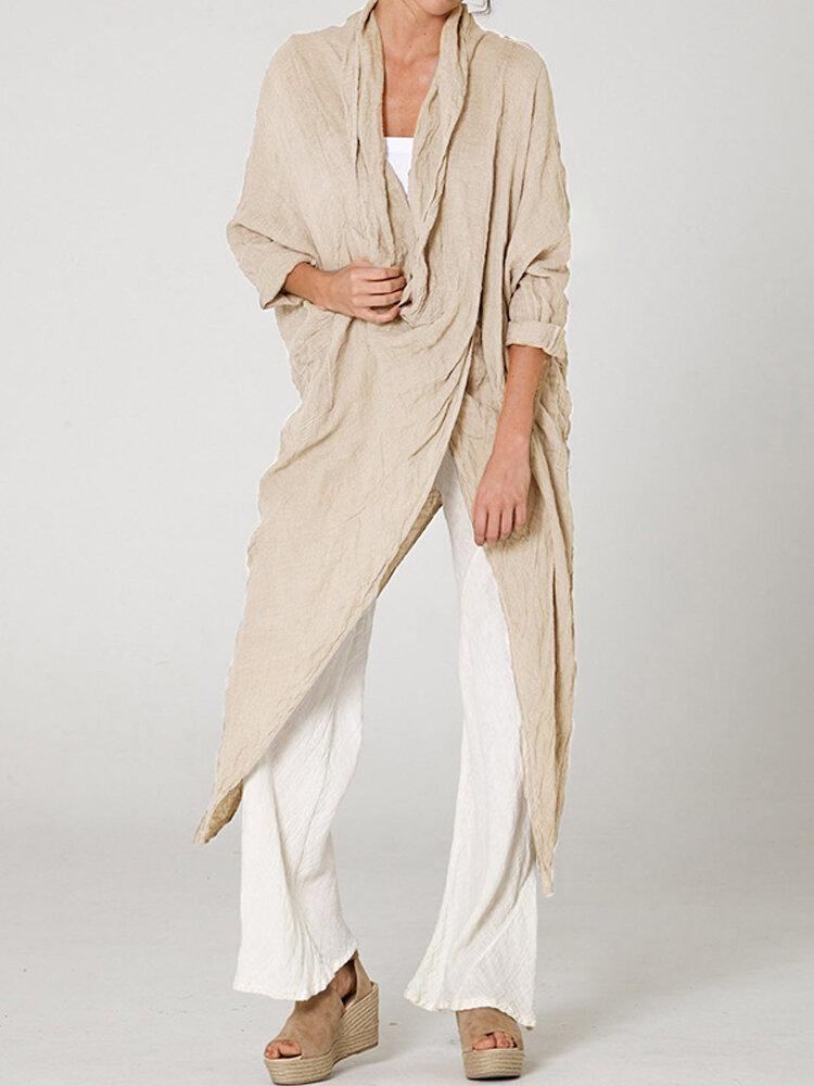 Vintage Long Sleeve Pile Collar Asymmetrical Long Blouse