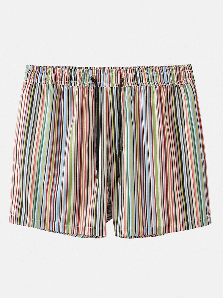 Multi Striped Shorts Casual Mesh Lining Mini Shorts Swim Trunks for Men