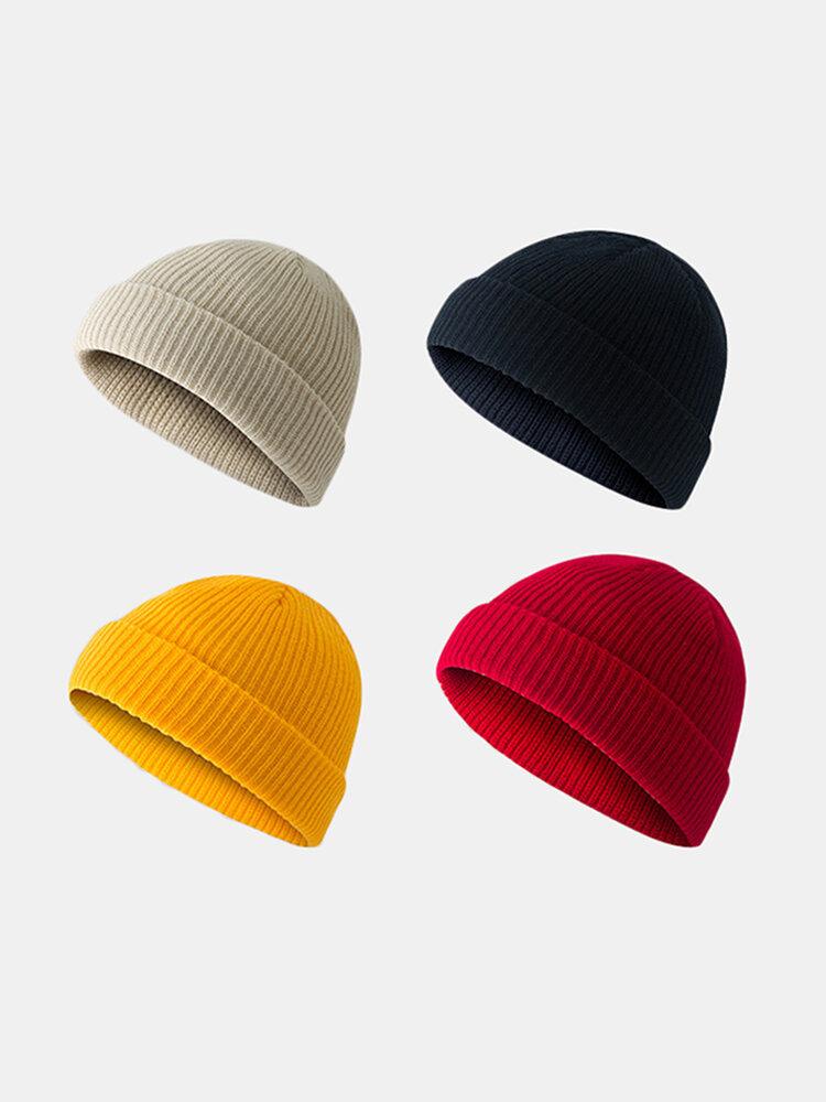 Bonnet unisexe en laine tricoté de couleur unie Casquettes de crâne Bonnets sans bord