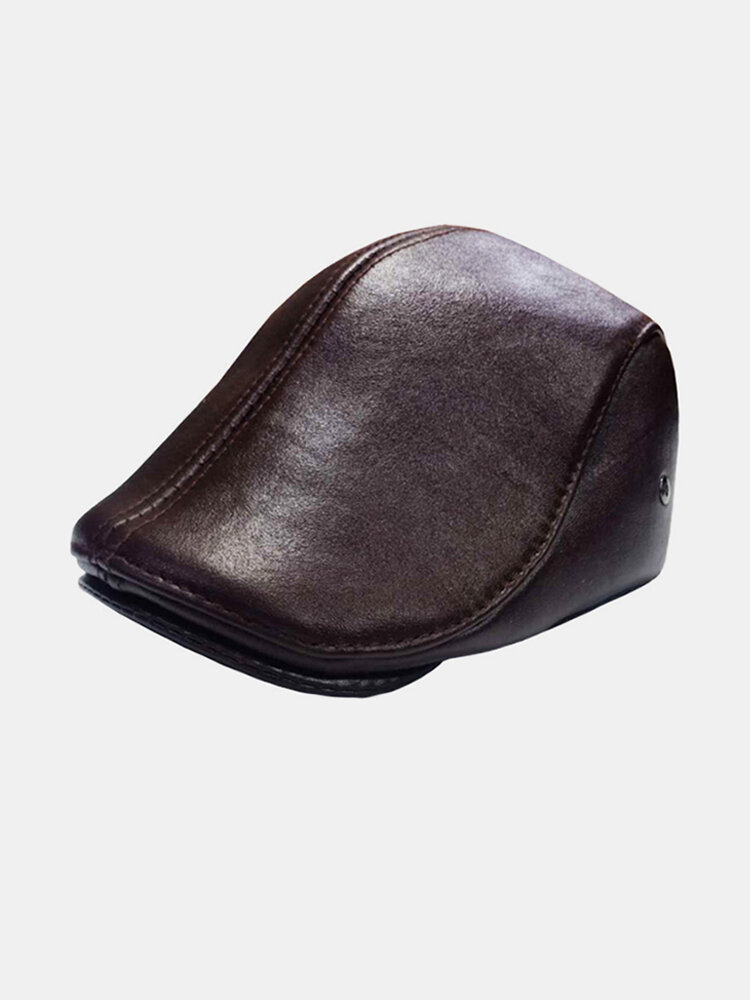 Men Genuine Leather Ear Protection Keep Warm Flat Cap Outdoor Windproof Forward Hat Beret Hat