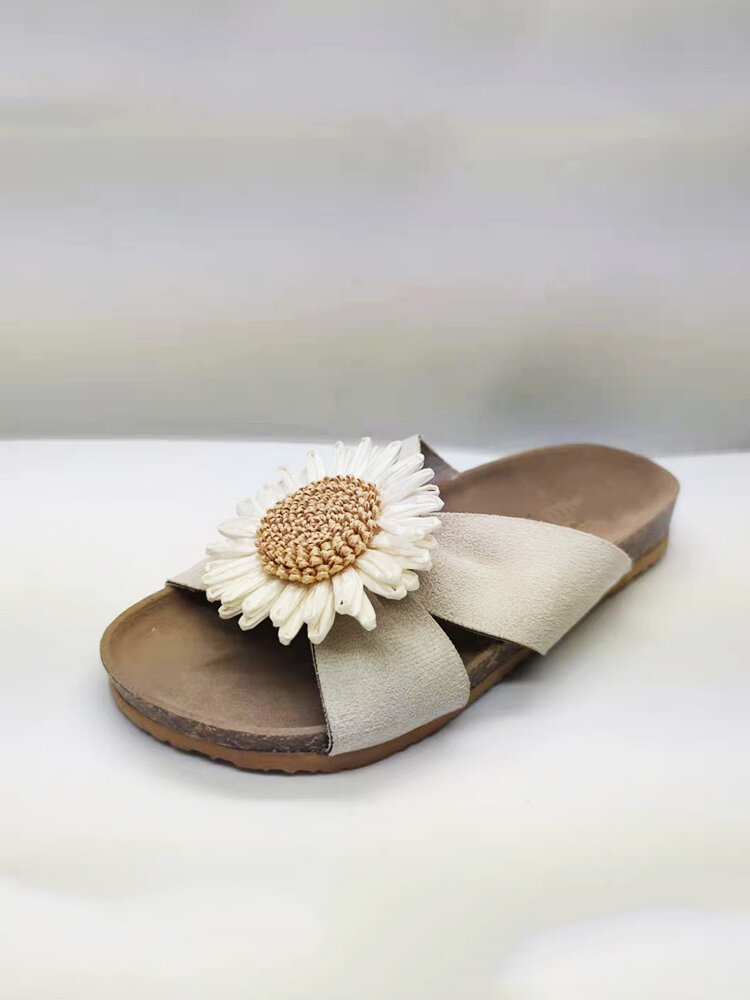 Plus Size Women Knitted Artificial Flower Cloth Flat Shoes Casual Firework Design Slippers