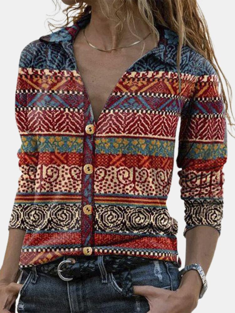 Ethnic Print Lapel Collar Long Sleeve Button Blouse