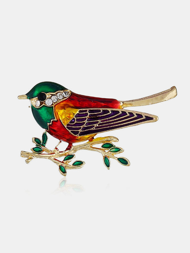 Cute Colorful Brooch Gold Enamel Bird Branche Pin Trendy Accessories Elegant Gift for Women