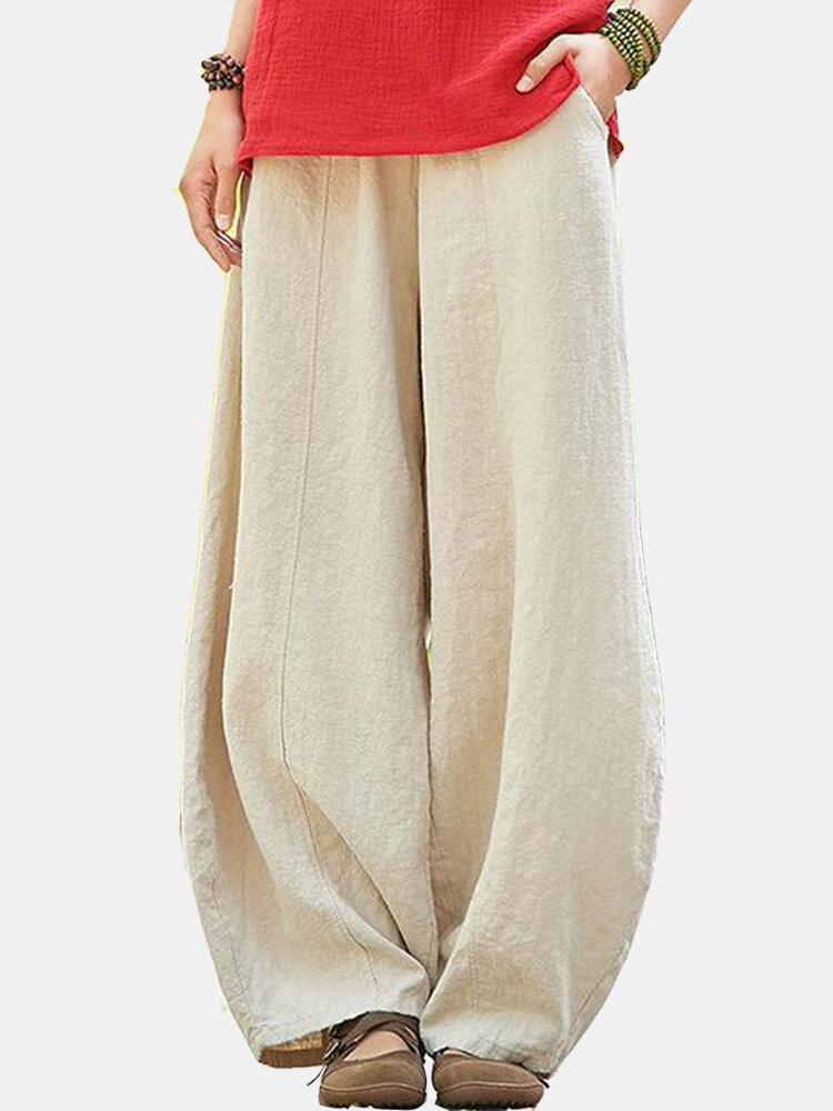 Einfarbige, lockere Pumphose mit elastischer Taille und Tasche