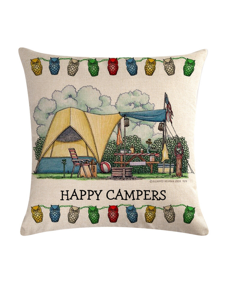 Vintage Cartoon Camper Van Muster Leinen Kissenbezug Home Sofa Art Decor Throw Kissenbezug