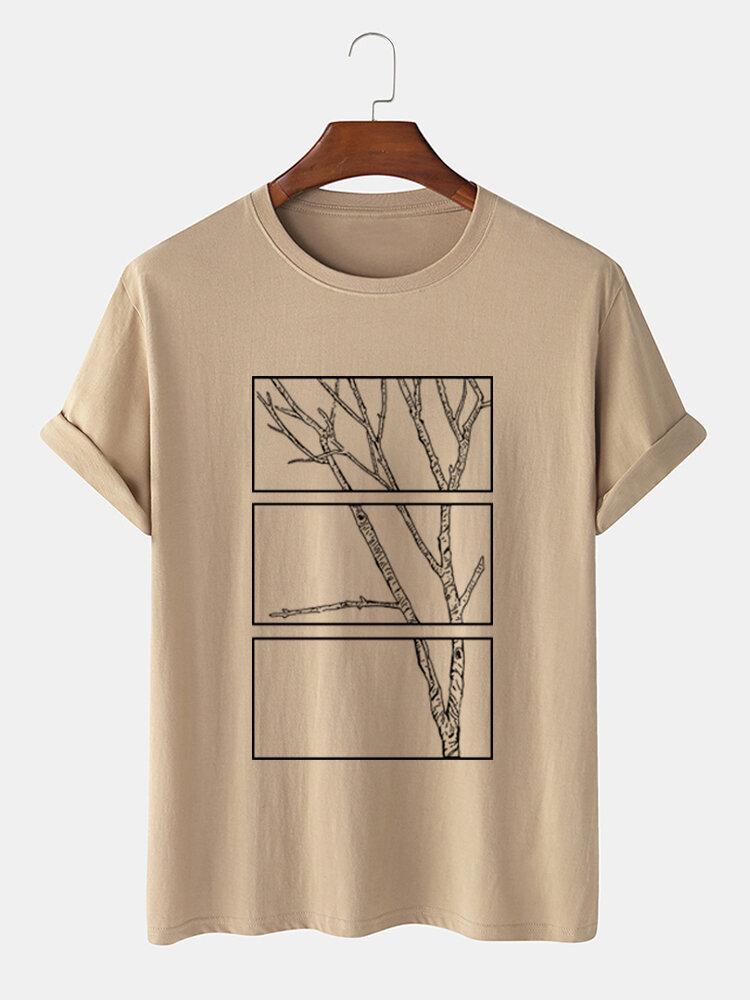 メンズ 100% コットン ブランチ グラフィック カジュアル ショート スリーブ T シャツ