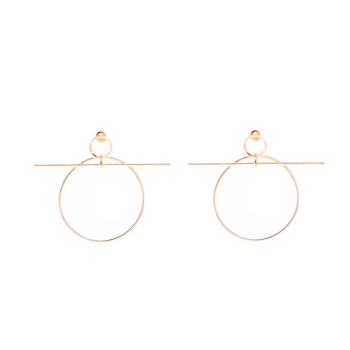 Exaggerated Copper Circle Cross word Earrings