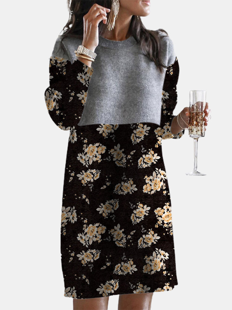 Calico Print Patchwork Long Sleeve Casual Dress For Women