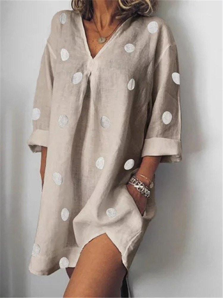 Polka Print Dots Long Sleeve V Neck Casual Dress