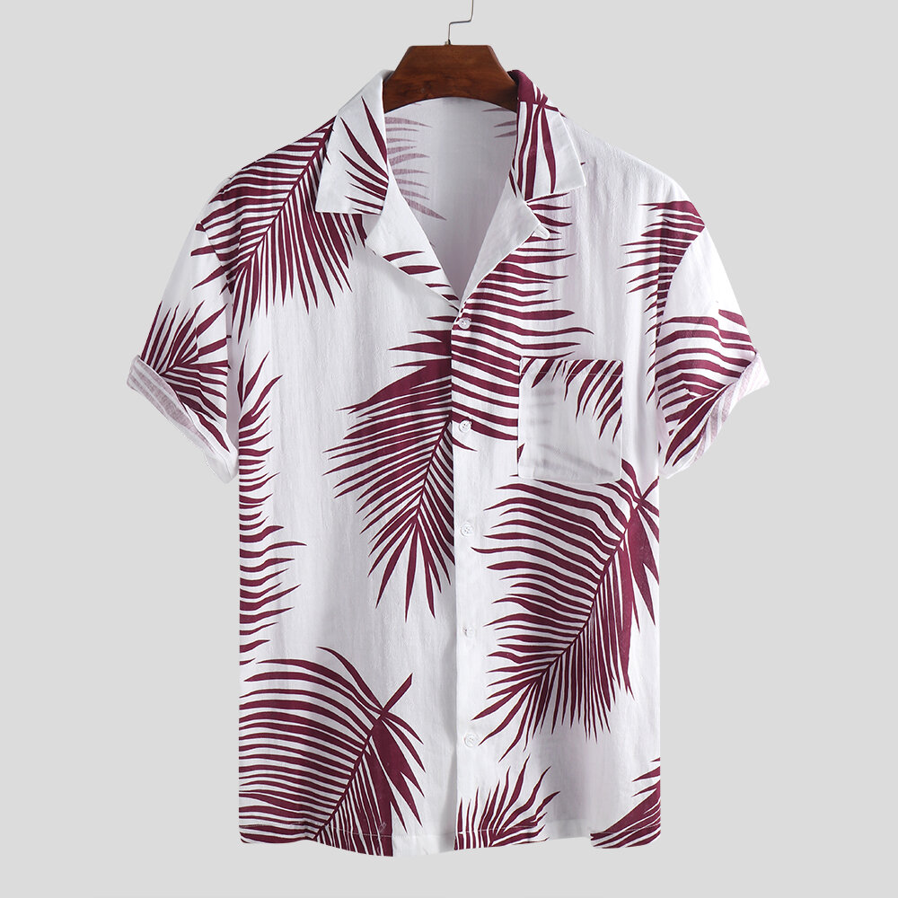 f625dc67d9843 ... Mens Hawaiian Holiday Floral Printed Cotton Turn Down Collar Short  Sleeve Loose Shirts. Share Get Coupon