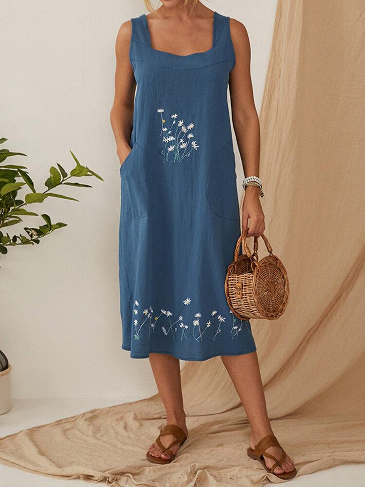 花刺繍ポケットドレス女性ホームガーデニングドレス