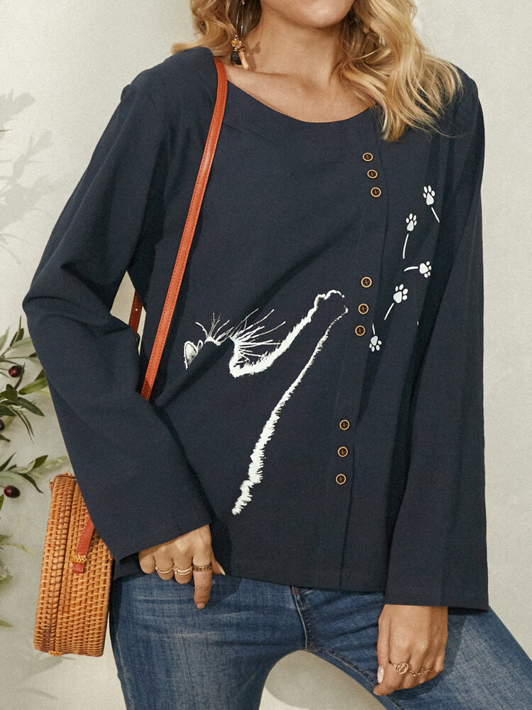 Cat Shadow Print Button Long Sleeve Plus Size Casual Blouse