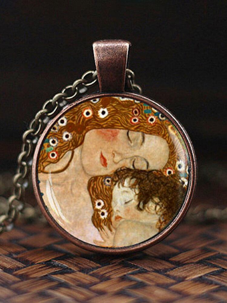 Adjustable Mountain Sea Fish Men Women Necklace Printed Glass Pendant Necklace