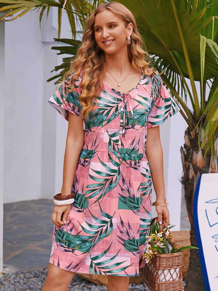 Colorblocks Leaves Print Robes mi-longues de vacances à manches courtes pour femmes