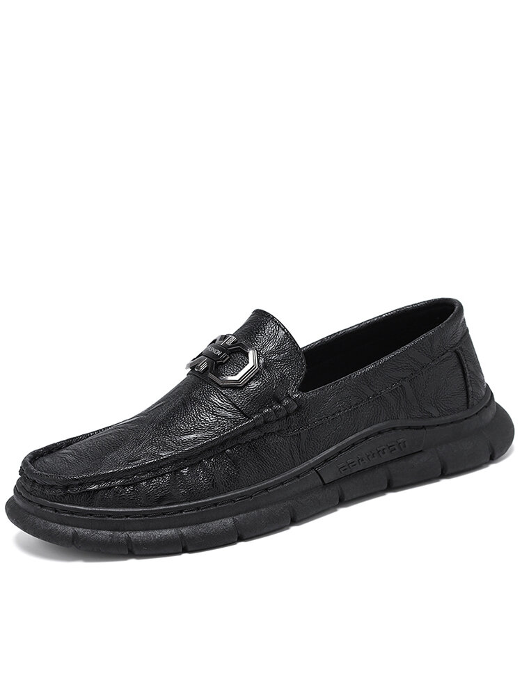 Men Stitching Microfiber Leather Breathable Slip-on Soft Casual Shoes