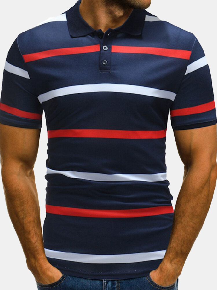 Mens Business Striped Printed Short Sleeve Casual Cotton Golf Shirt