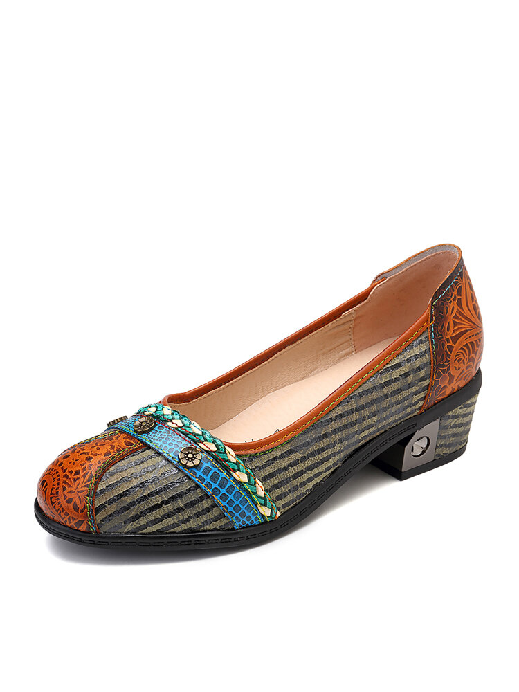 Image of SOCOFY Retro Knot Rope Flowers Buckle Colored Band Splicing Black Stripes Comfortable Slip On Pumps