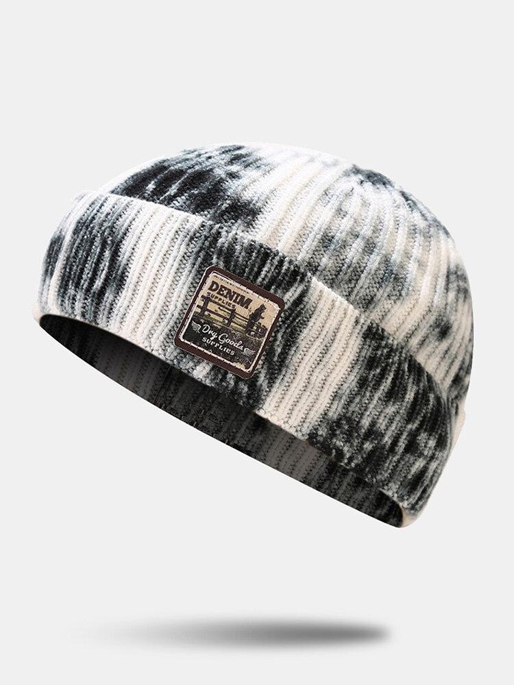 Unisexe Core-spun Tricoté Tie-Dye Motif de Bande Dessinée Patch Mode Chaleur Bonnet Bonnet - Newchic - Modalova