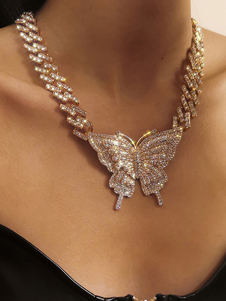Vintage Exaggeration Full Rhinestone Butterfly-shape Pendant Cuban Chain Alloy Necklaces
