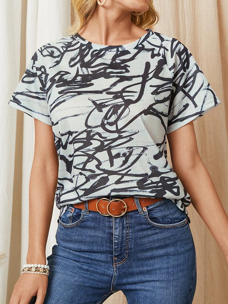 Camiseta casual de manga corta con cuello redondo y estampado de grafiti para Mujer