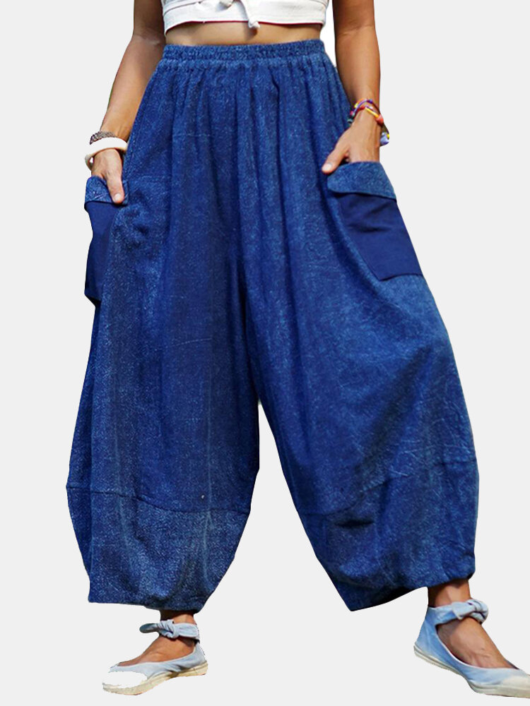 Solid Color Elastic Waist Loose Pants For Women