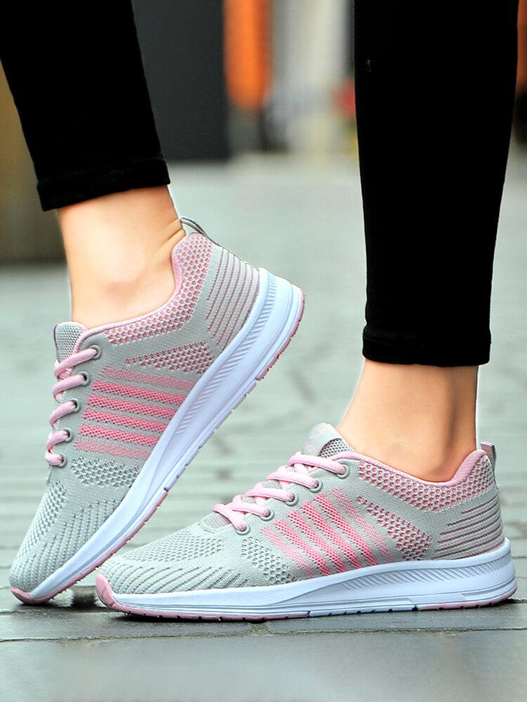 Women Stripe Mesh Lace Up Slip Resistant Running Sneakers