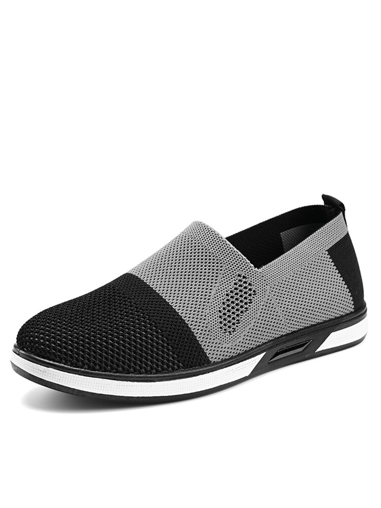 Men Sport Kintted Fabric Comfy Breathable Slip On Casual Walking Sneakers