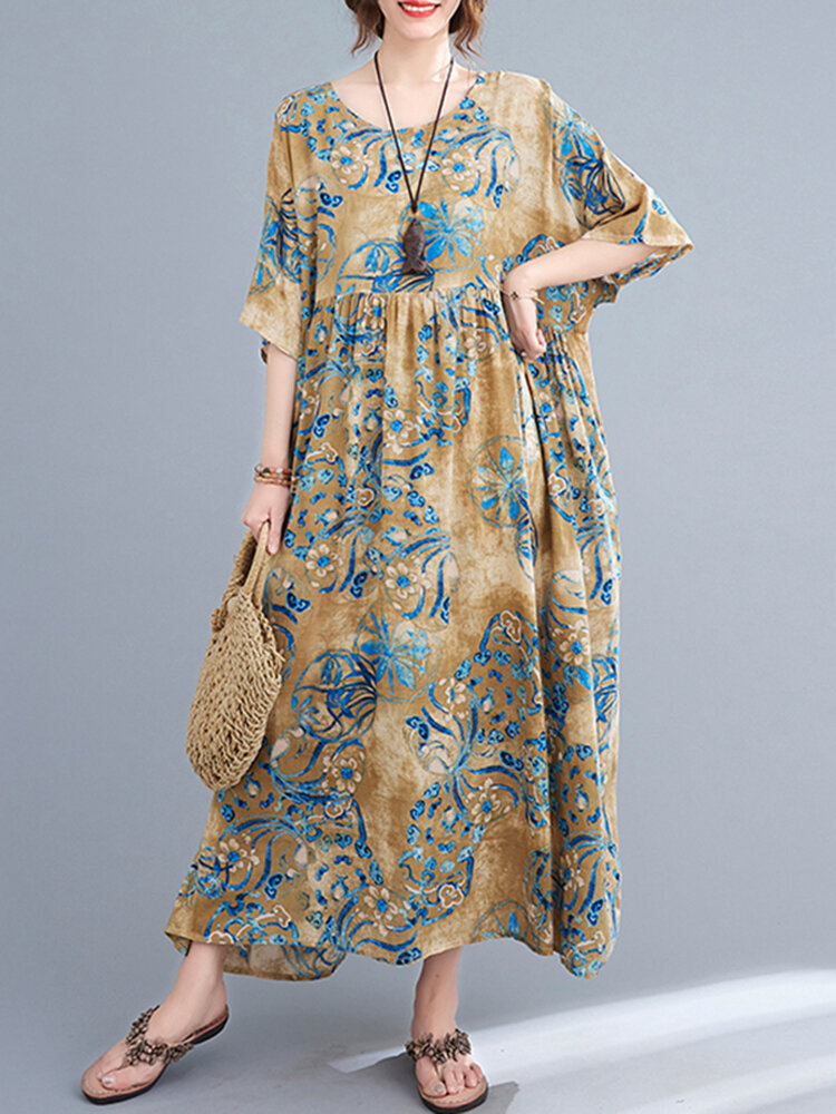 Vintage Flower Print Loose O-neck Half Sleeve Dress for Women