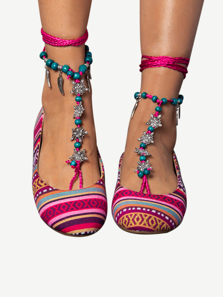 LOSTISY Beaded Red Chain Stripe Comfortable Bohemian Loafers
